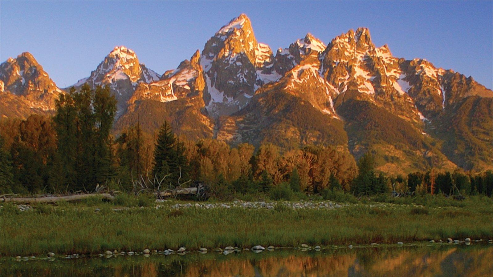 Jackson Hole caracterizando cores do outono, paisagem e montanhas