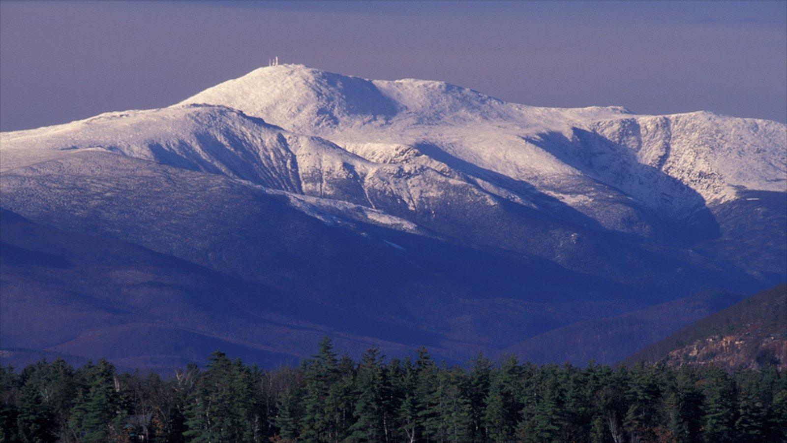 North Conway mostrando montañas, nieve y vistas de paisajes