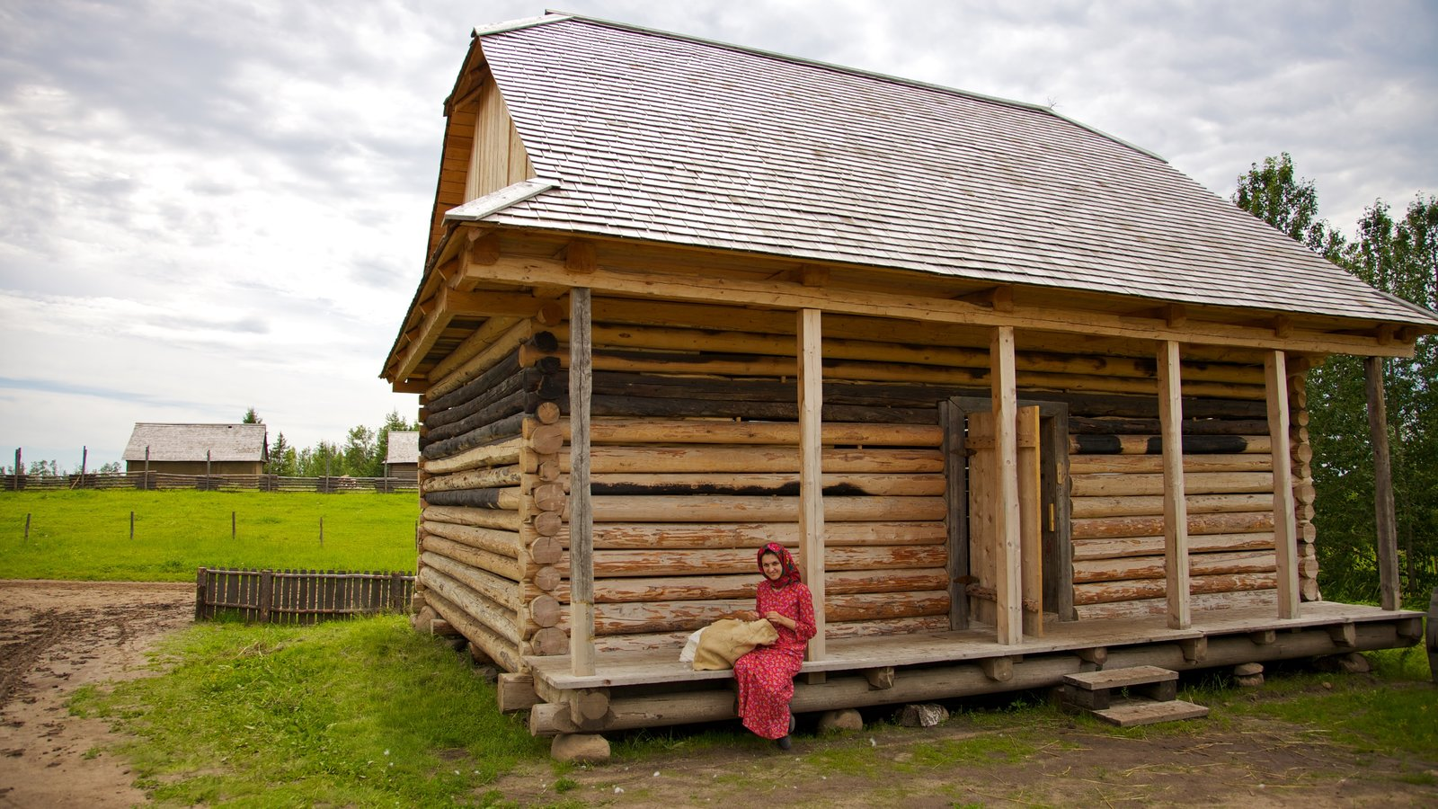 Ukrainian Cultural Heritage Village showing heritage architecture, a small town or village and farmland