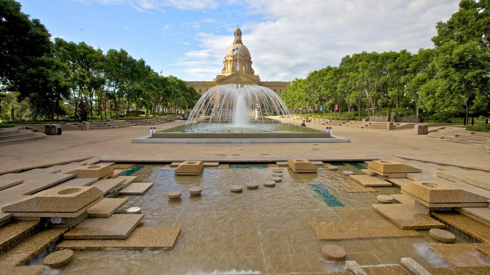 Alberta Legislature Building featuring heritage architecture, a square or plaza and a fountain