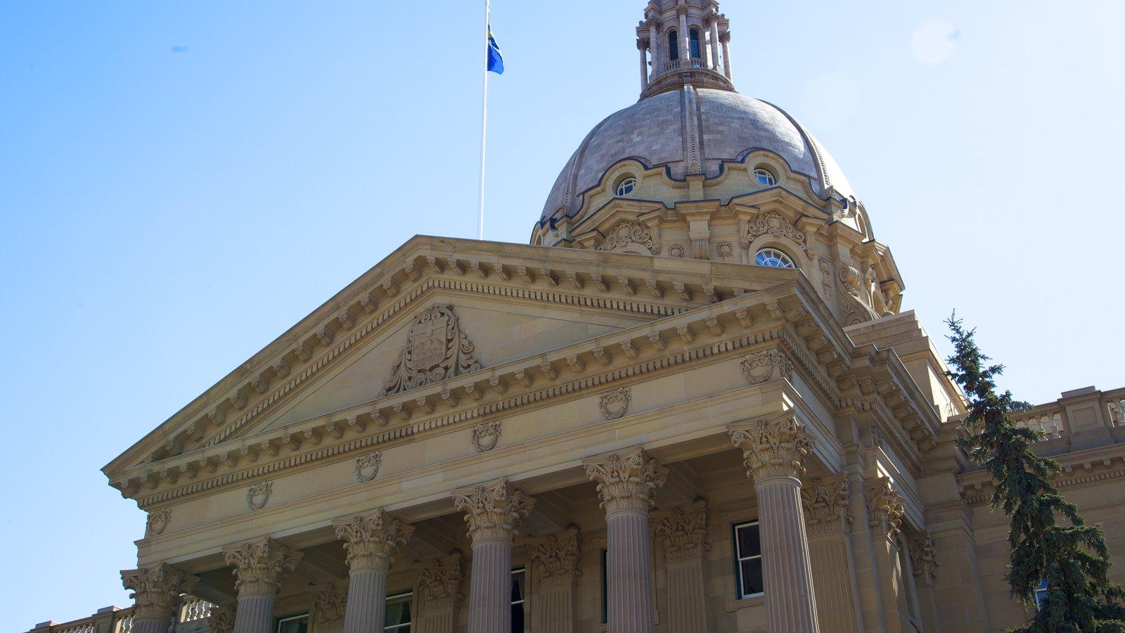 Alberta Legislature Building showing a city, an administrative building and cbd
