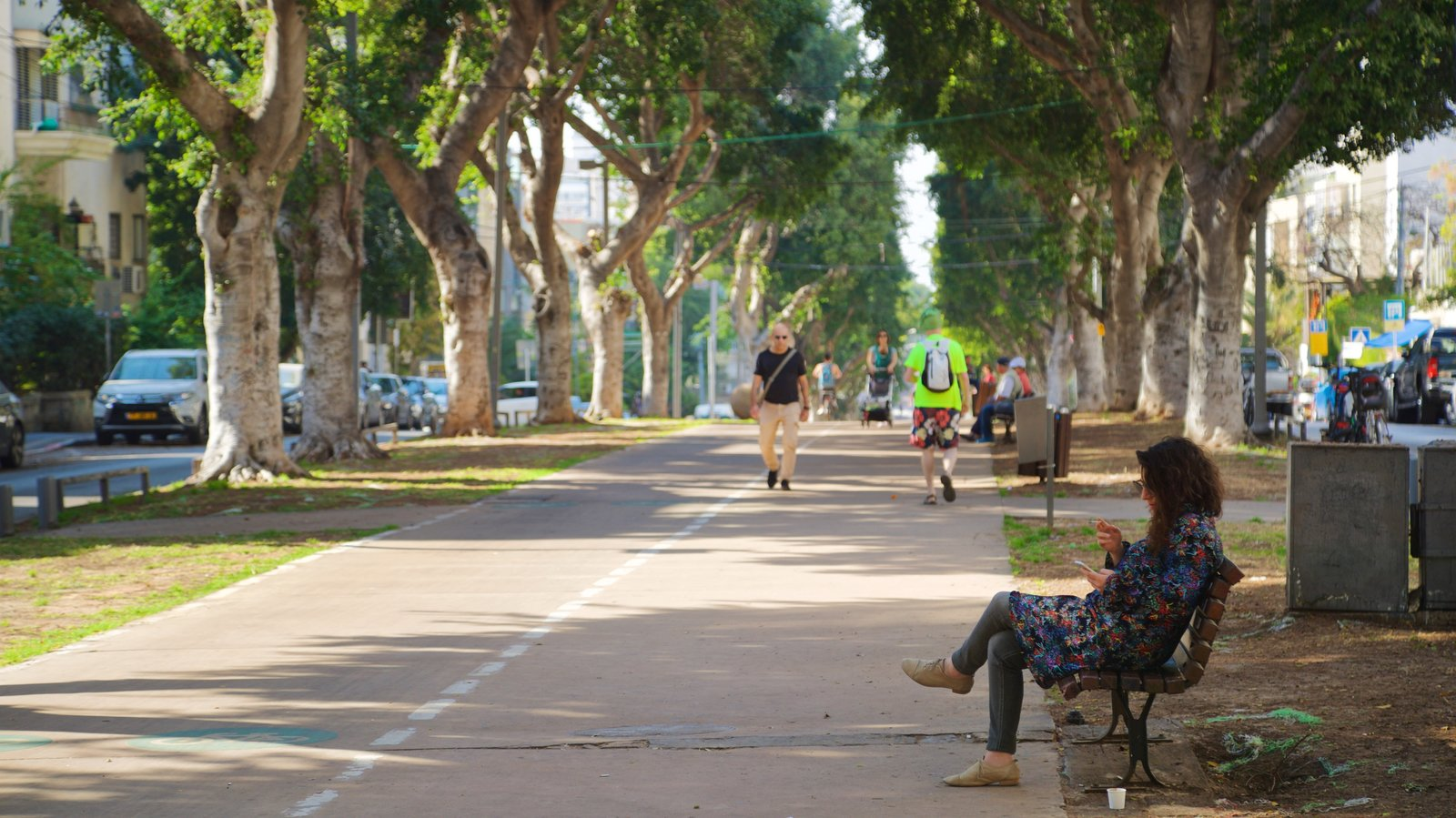 Tel Aviv showing street scenes and a park as well as an individual femail