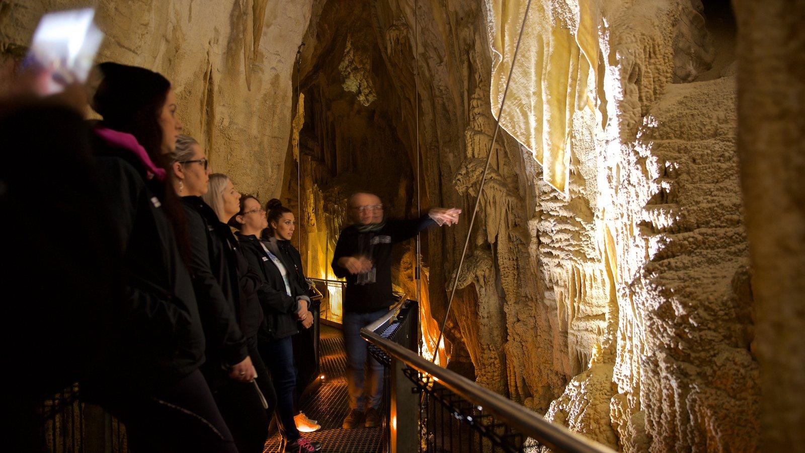 Cavernas de Waitomo caracterizando cavernas assim como um pequeno grupo de pessoas