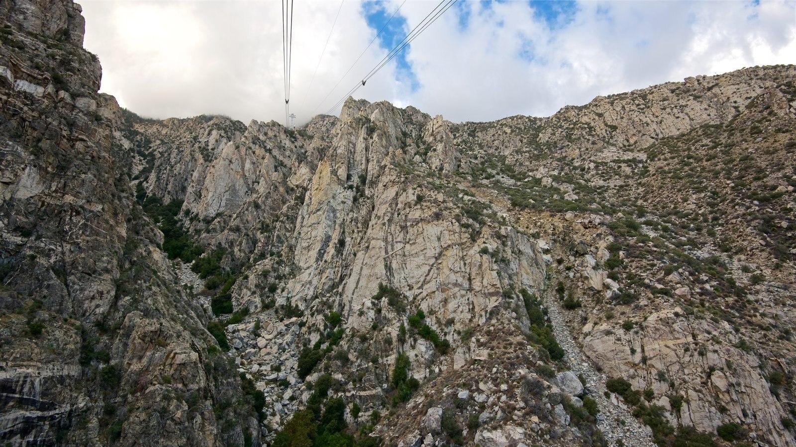 Teleférico de Palm Springs que incluye una góndola y montañas