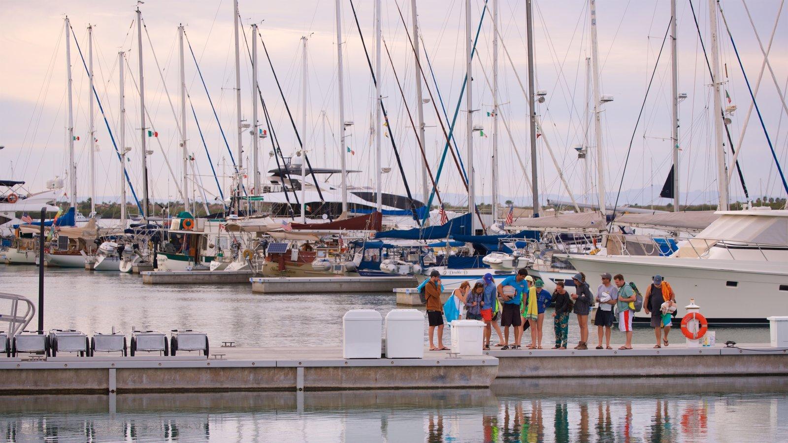 Puerto deportivo Marina Cortez mostrando una bahía o puerto y también un pequeño grupo de personas
