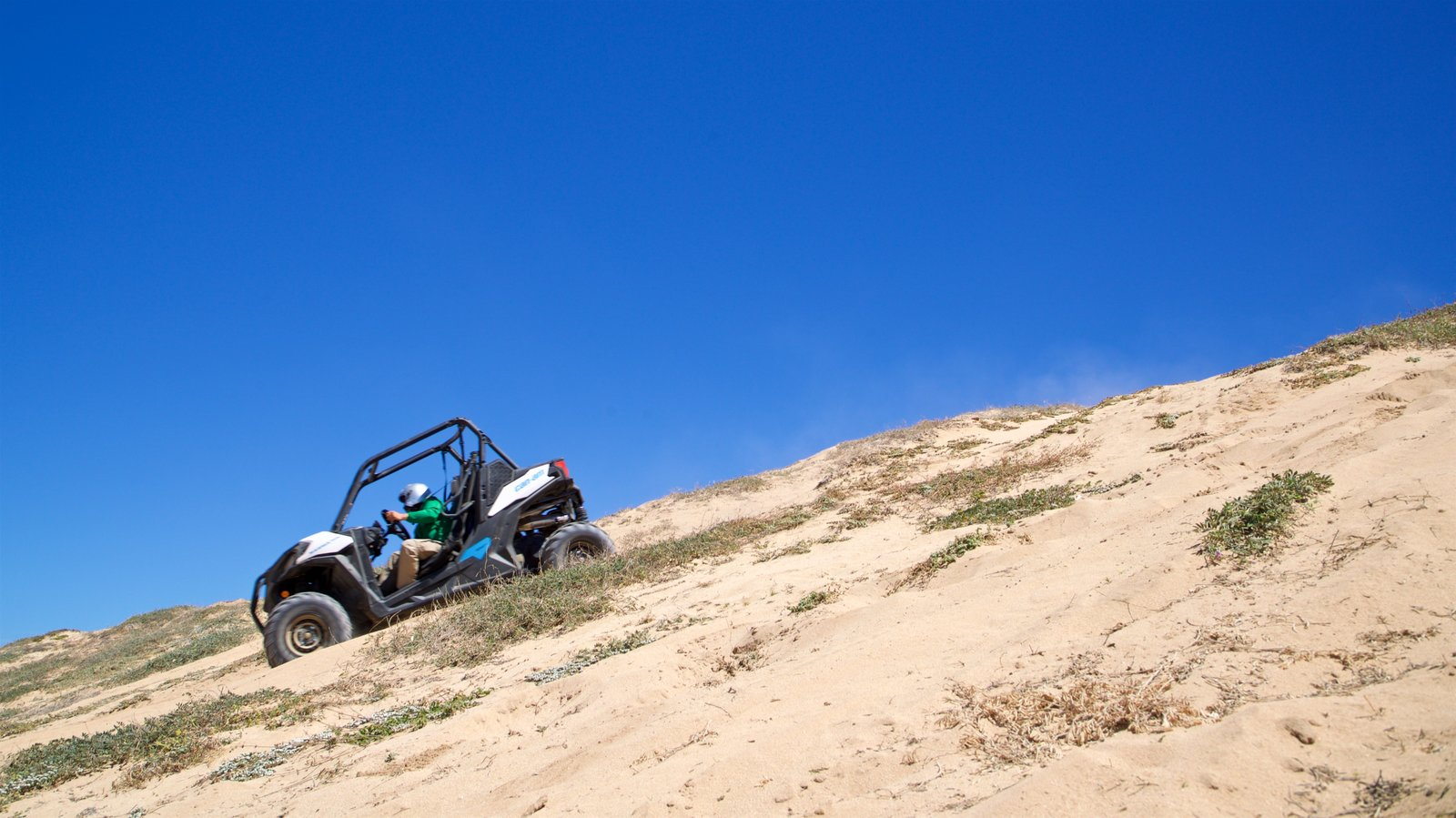 Migrino showing a sandy beach and 4 wheel driving