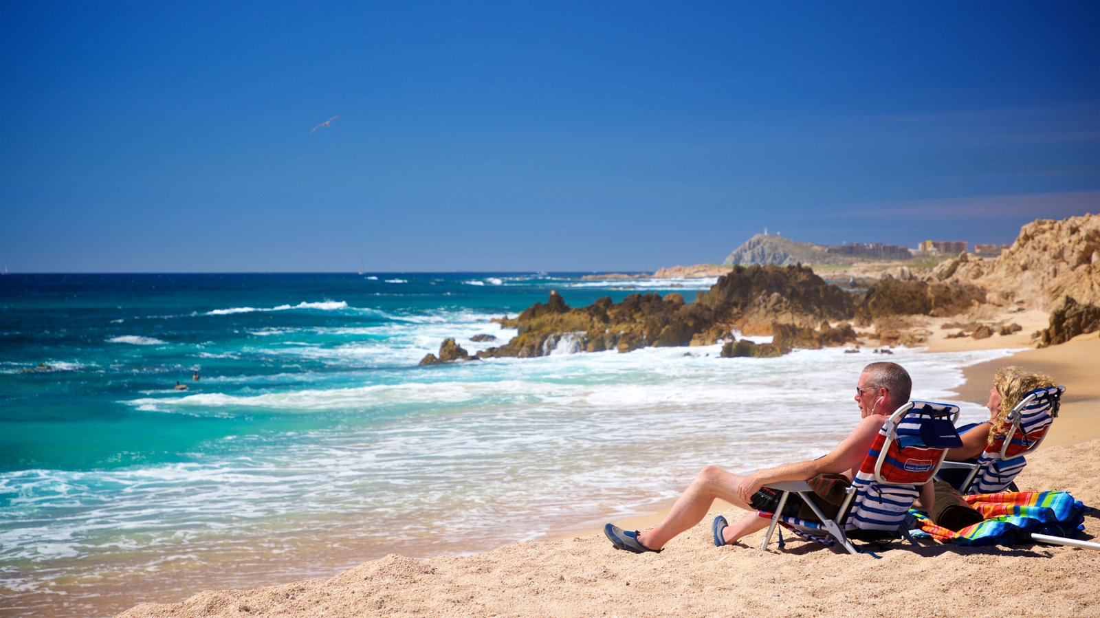 Playa Las Viudas which includes general coastal views and a beach as well as a couple