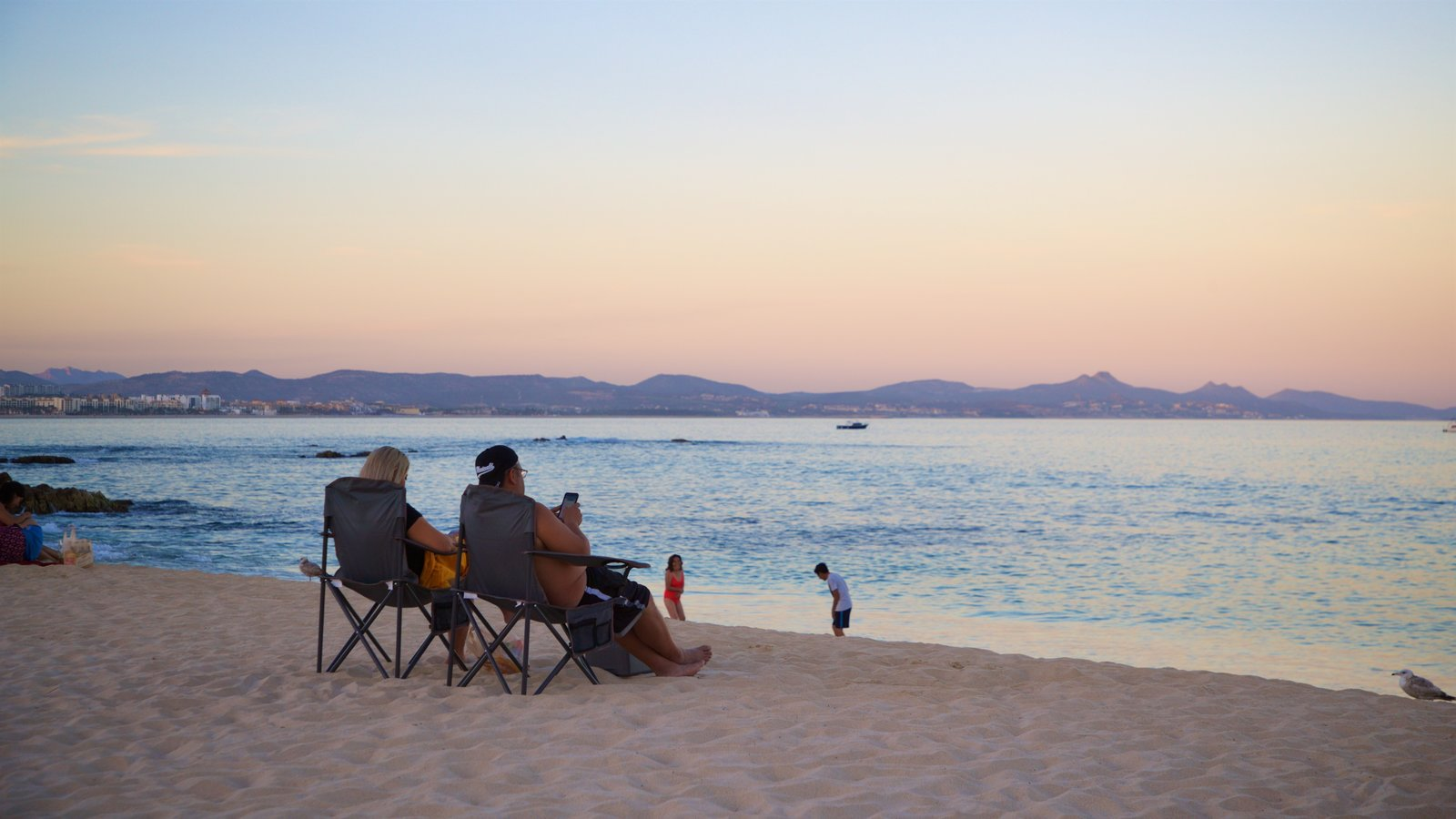 Palmilla Beach showing general coastal views, a beach and a sunset