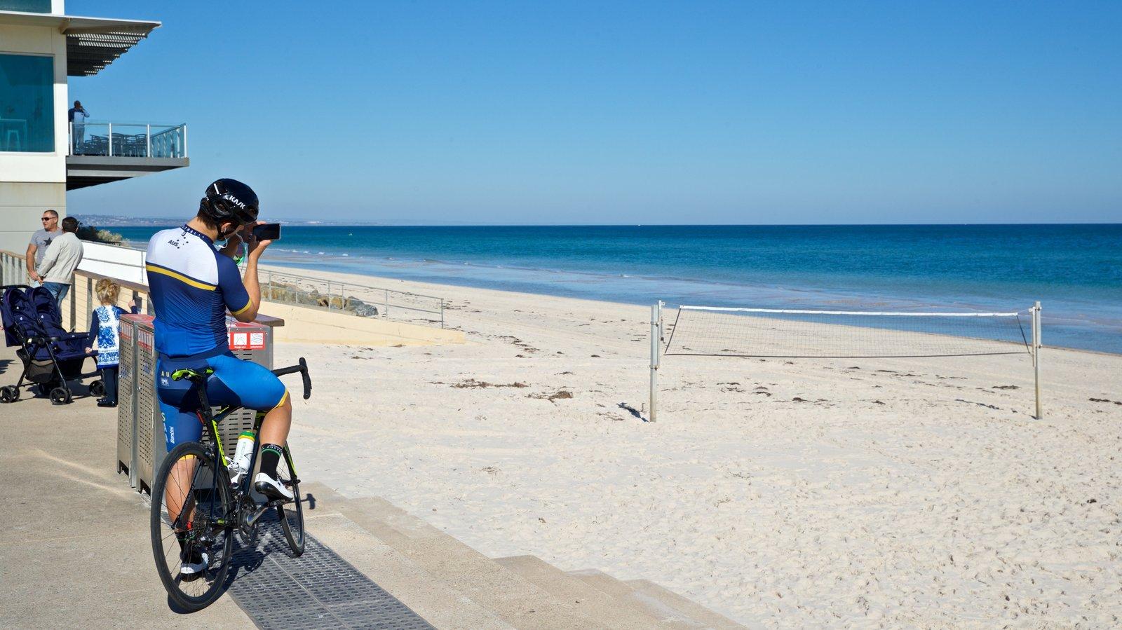 Playa Henley mostrando vistas generales de la costa y una playa y también un hombre