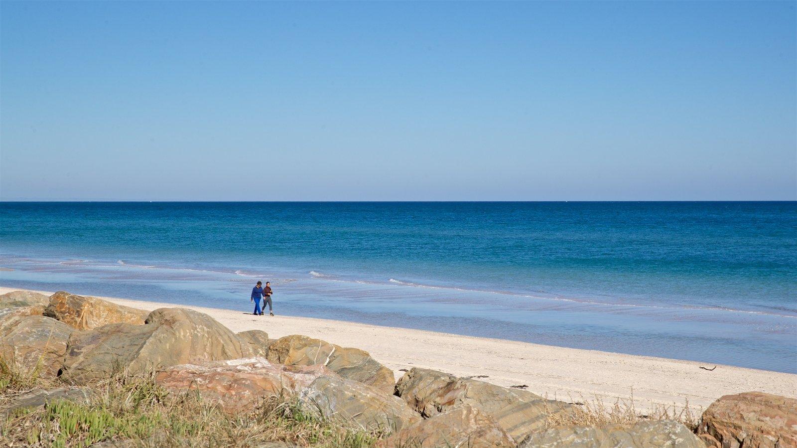 Playa Henley ofreciendo vistas generales de la costa y una playa y también una pareja