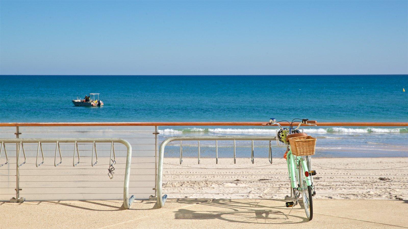 Playa Henley ofreciendo vistas generales de la costa, una playa de arena y paseos en lancha