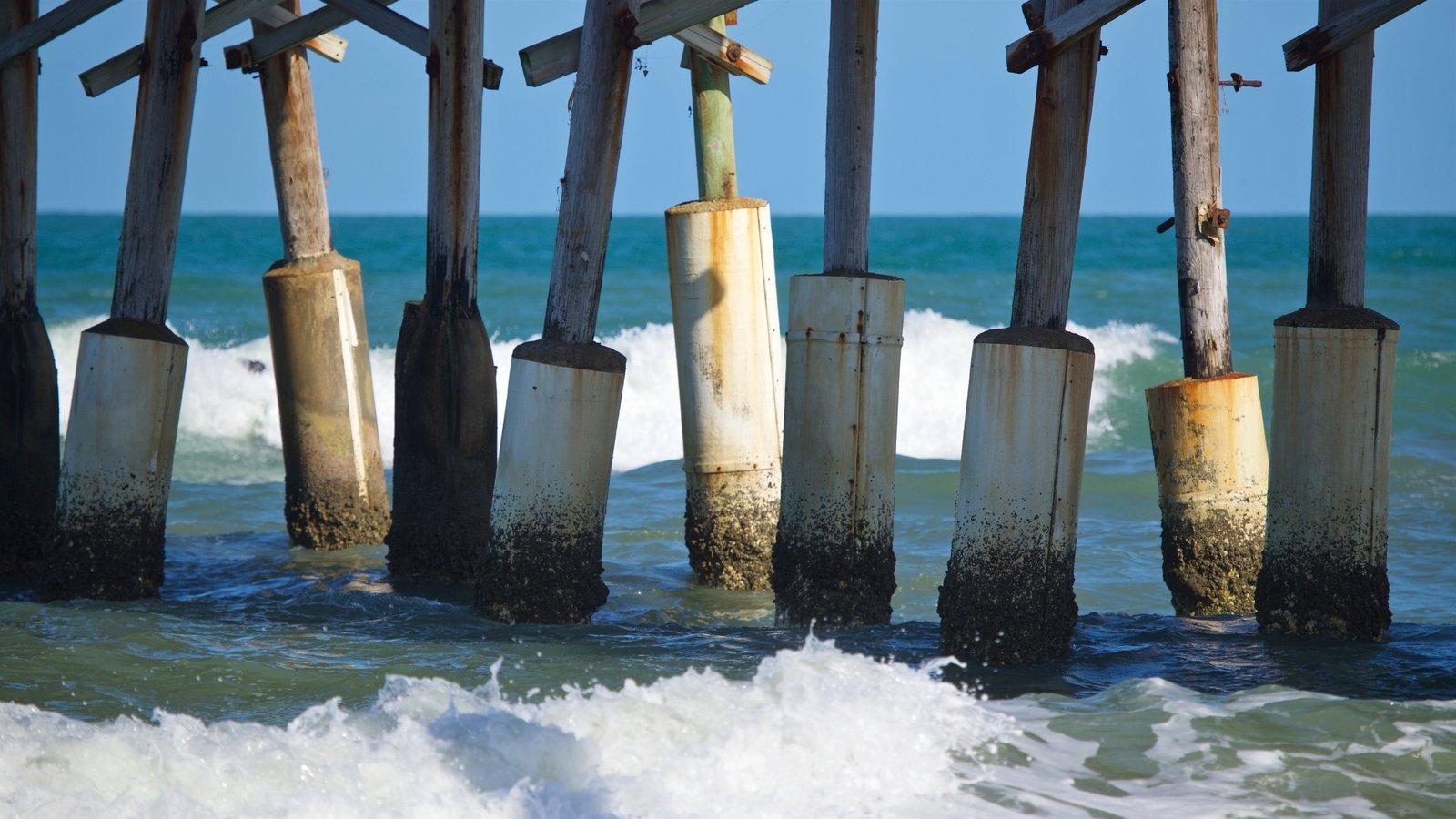 Cocoa Beach Pier showing general coastal views