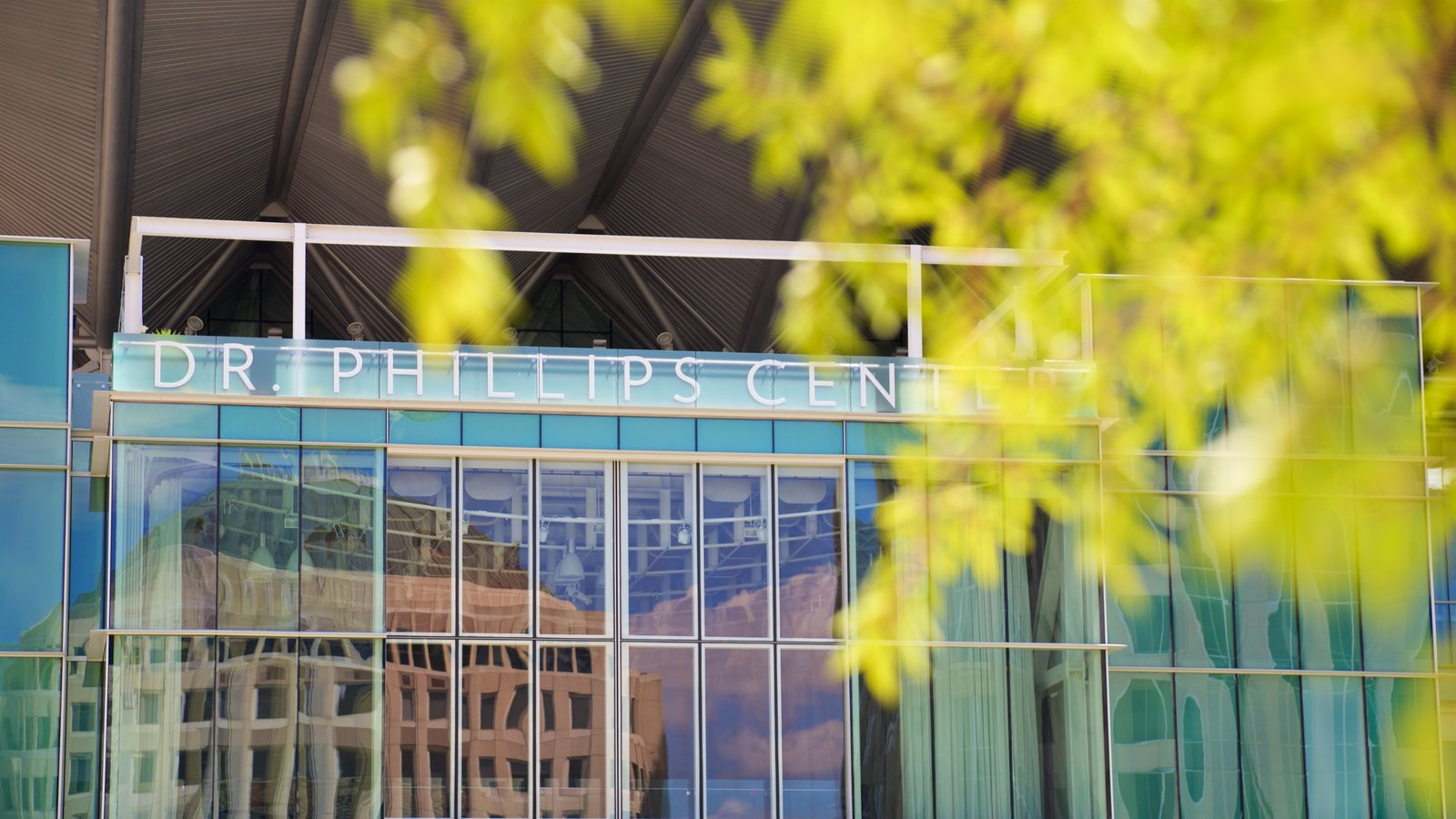 Dr. Phillips Center for the Performing Arts which includes modern architecture and signage