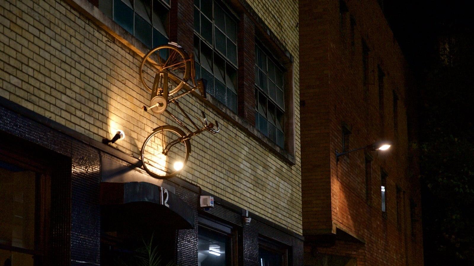 Docklands que incluye escenas nocturnas y arte al aire libre