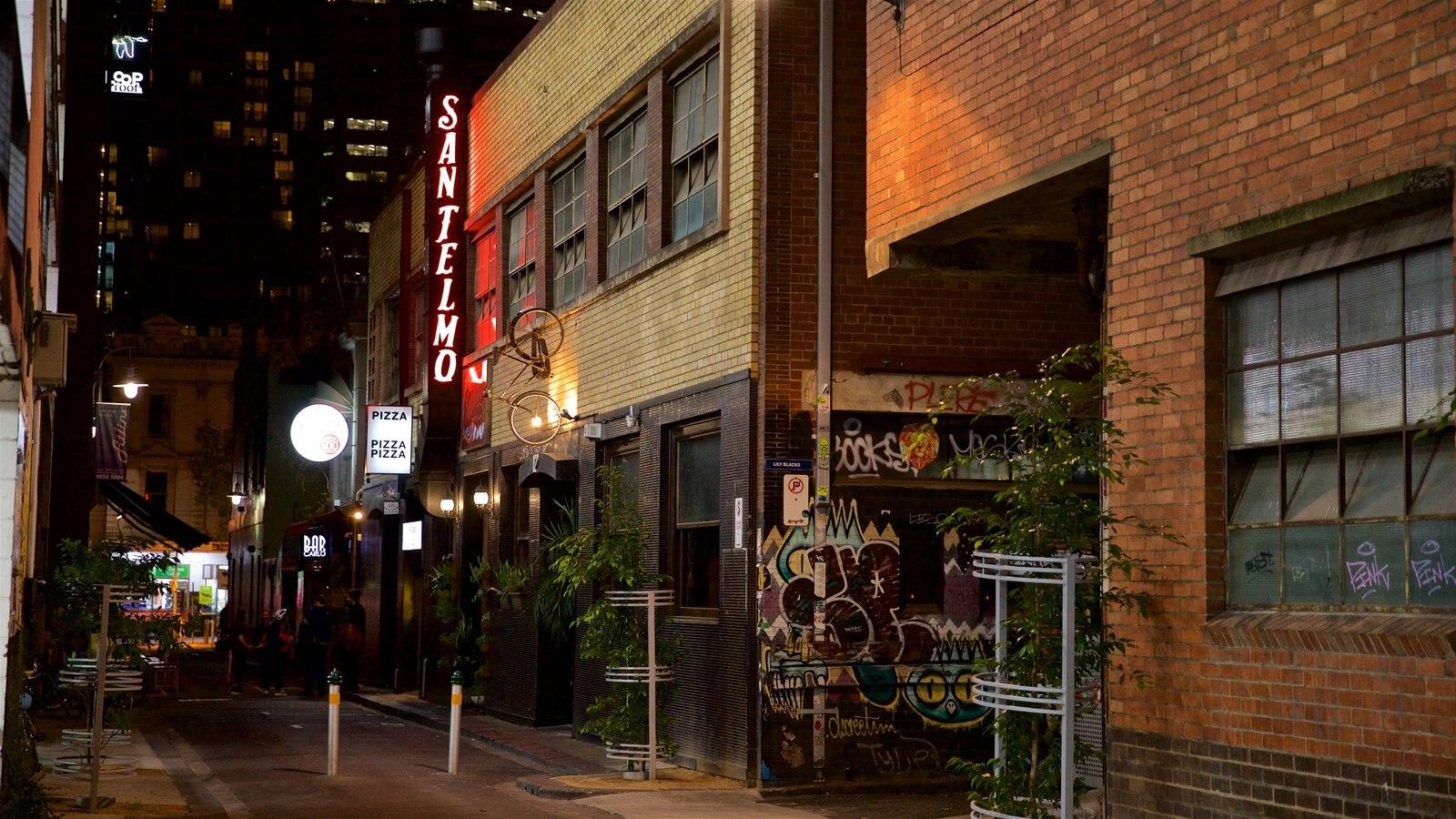 Docklands que incluye escenas nocturnas