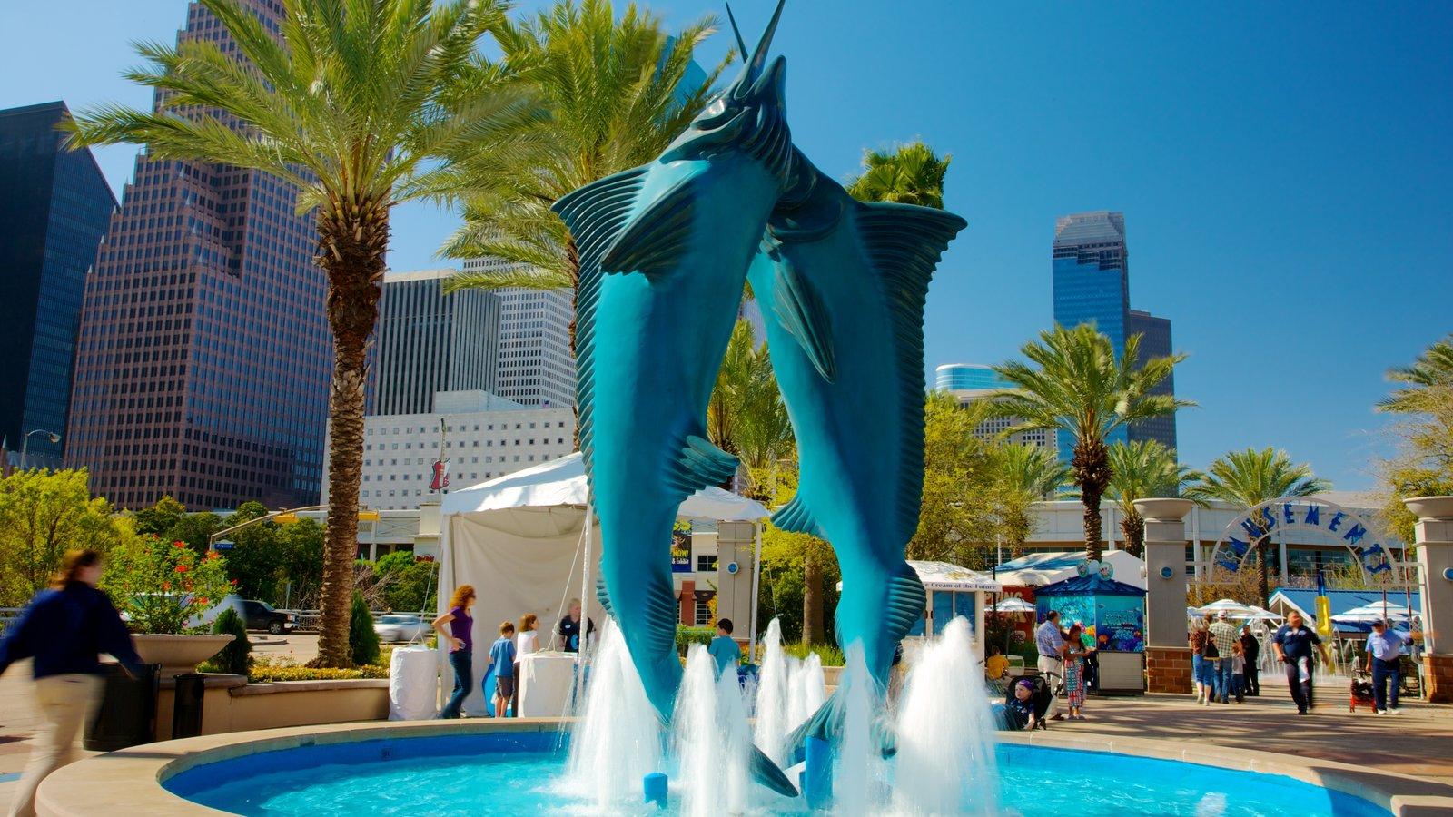 Downtown Aquarium mostrando paisagens da cidade, uma cidade e uma fonte