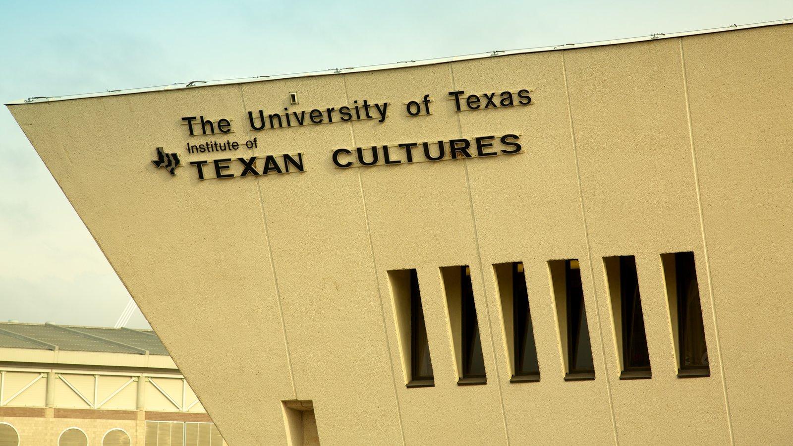 Institute of Texan Cultures que inclui arquitetura moderna, sinalização e uma cidade