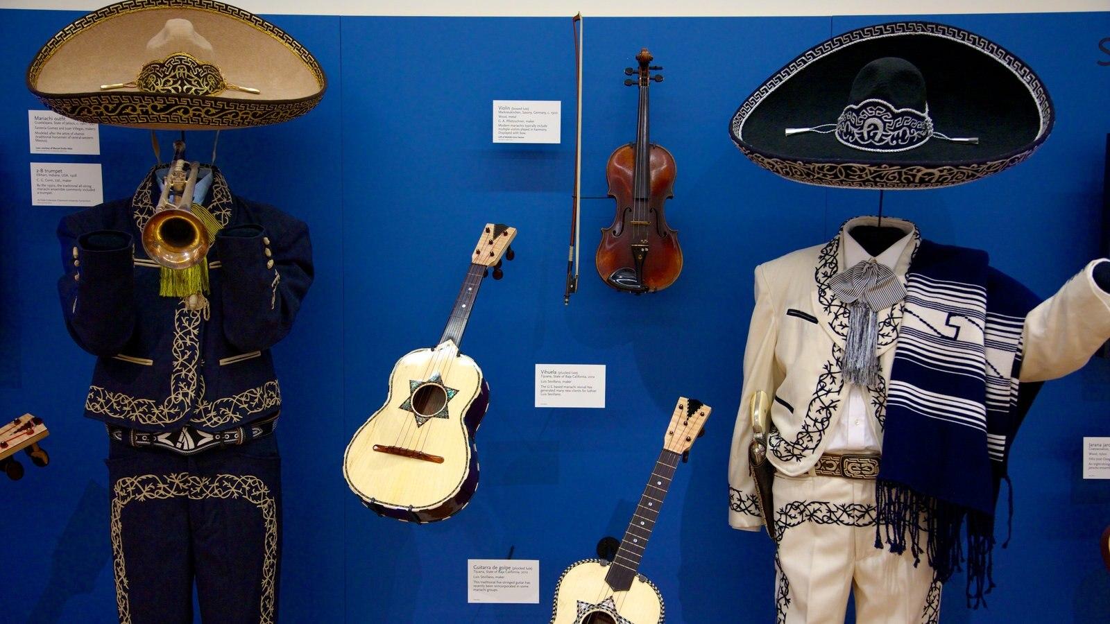 Museu dos Instrumentos Musicais mostrando música e vistas internas
