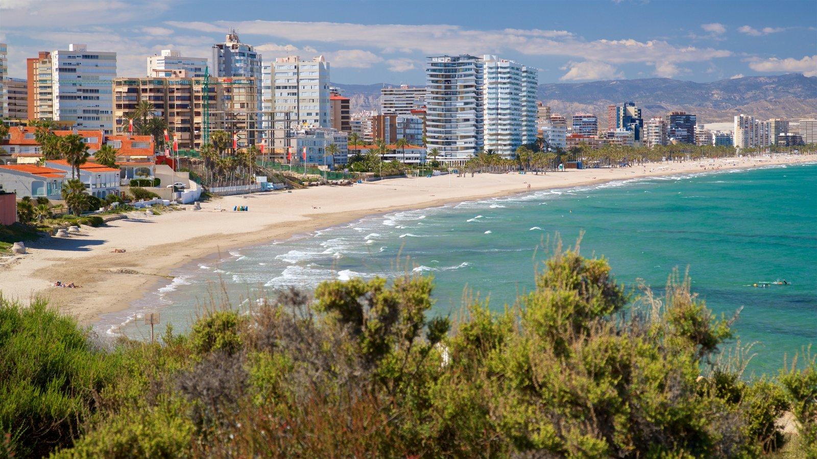 Cabo de las Huertas mostrando vistas de paisajes, una playa de arena y una ciudad costera
