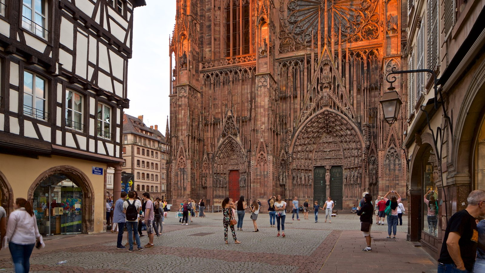 Our Lady of Strasbourg Cathedral featuring a church or cathedral, street scenes and heritage architecture