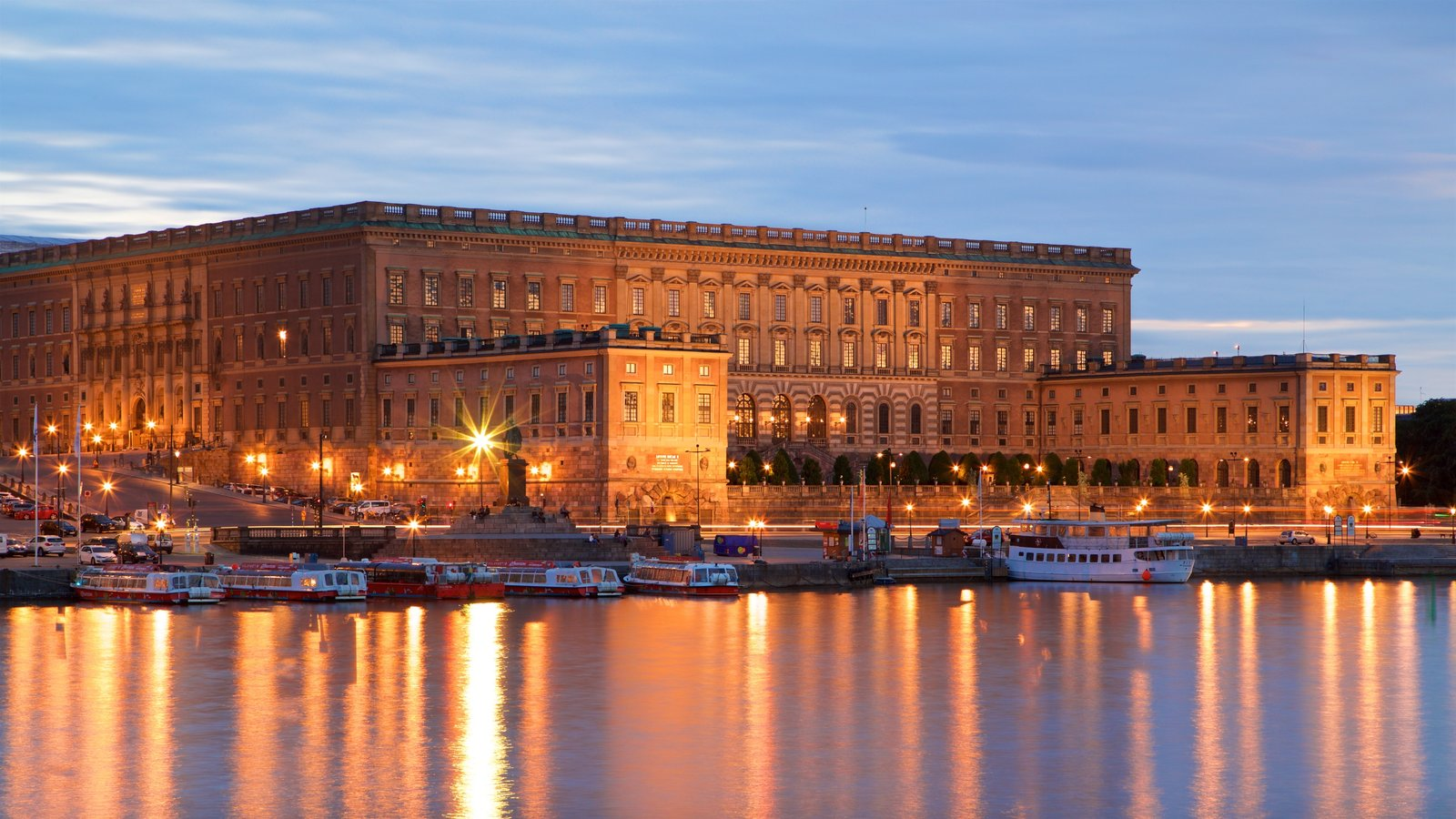 Stockholm Palace showing heritage architecture and a bay or harbour