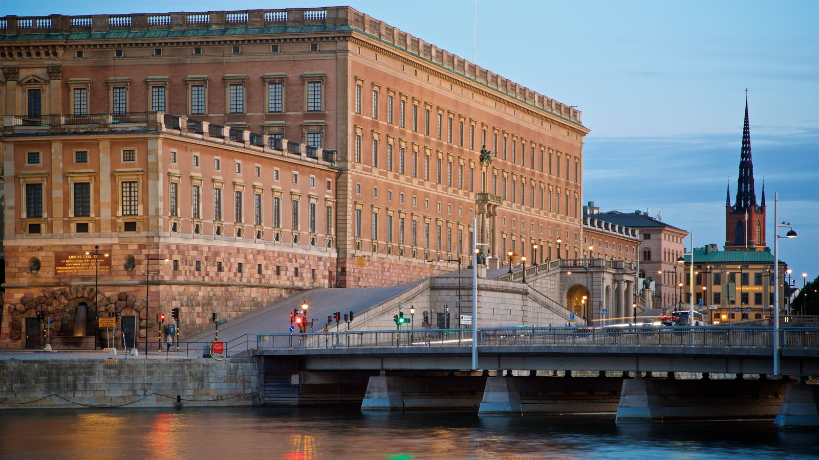 Stockholm Palace featuring a bridge, heritage architecture and a river or creek