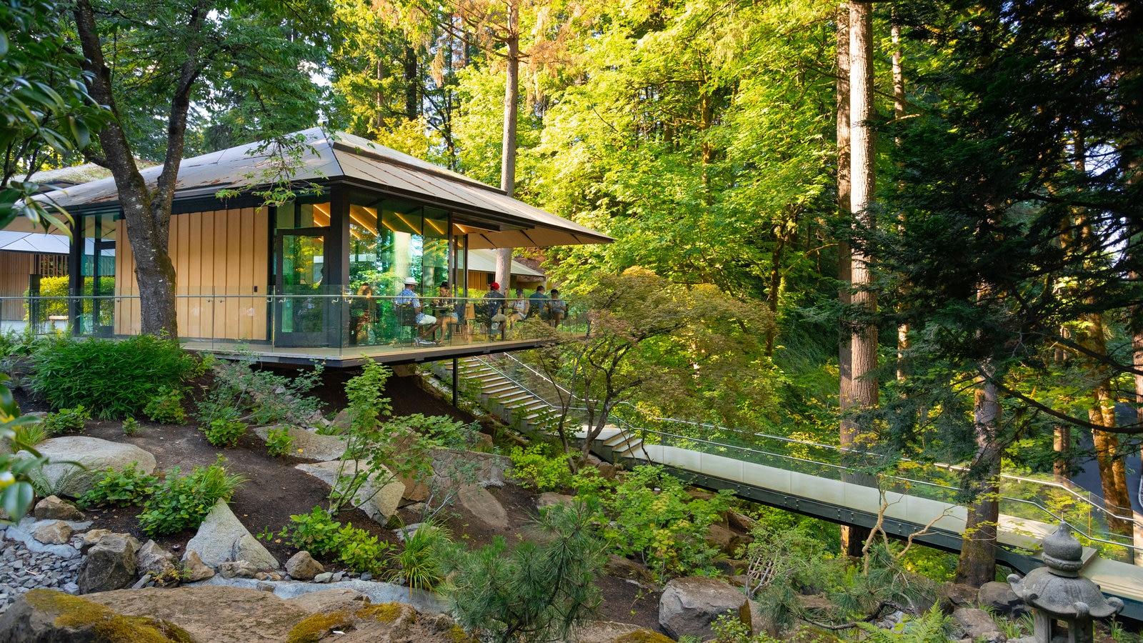 Jardín Japonés de Portland que incluye un parque y escenas forestales