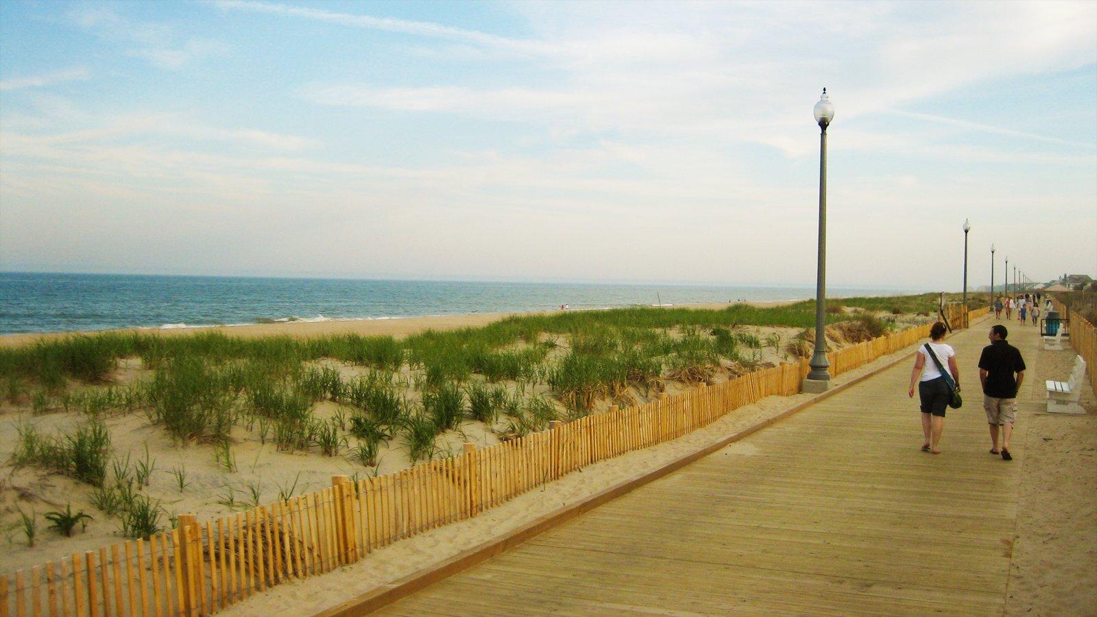 Rehoboth Beach ofreciendo una playa y vistas de paisajes y también una pareja