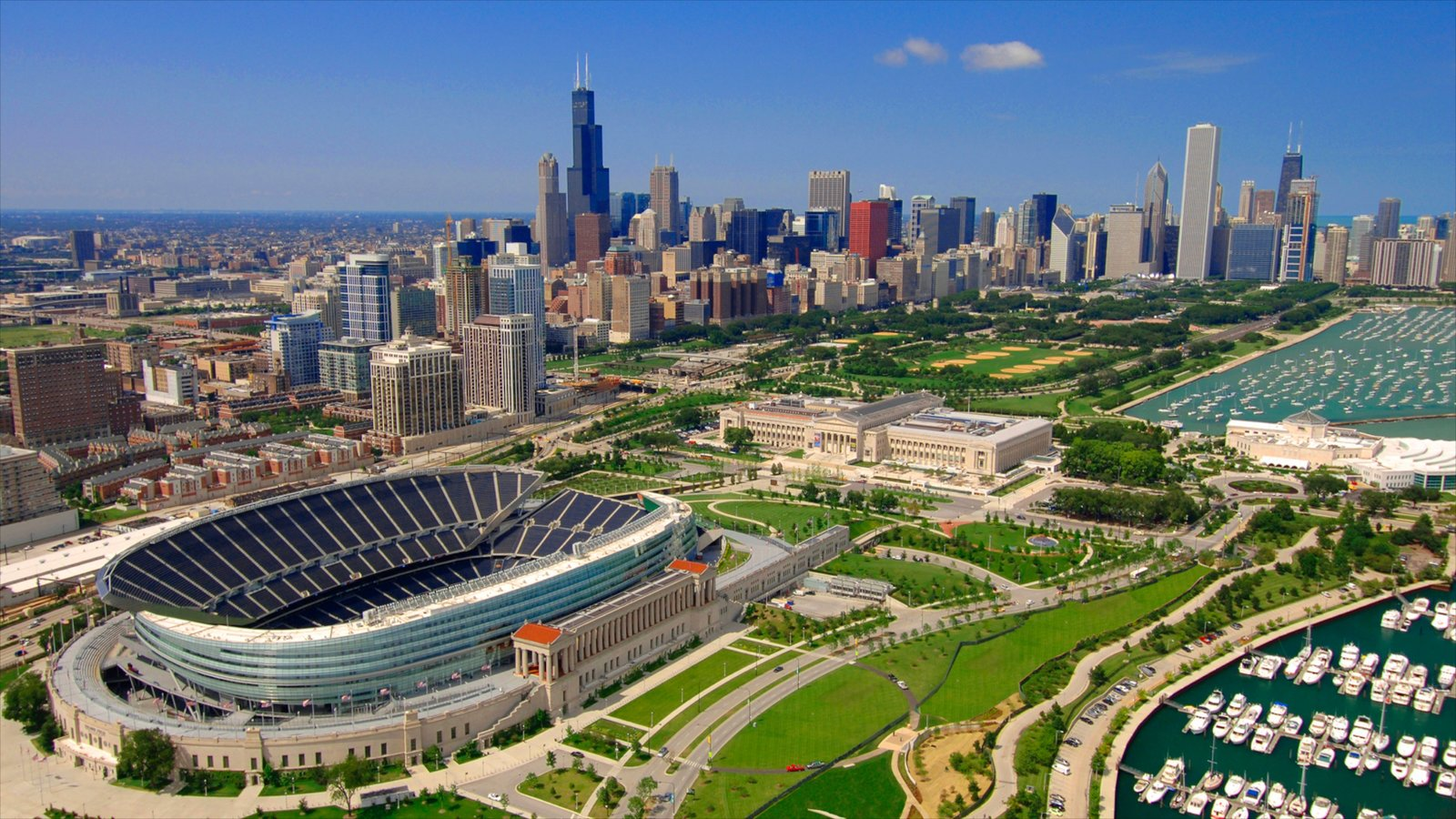 Soldier Field featuring a skyscraper, modern architecture and a city