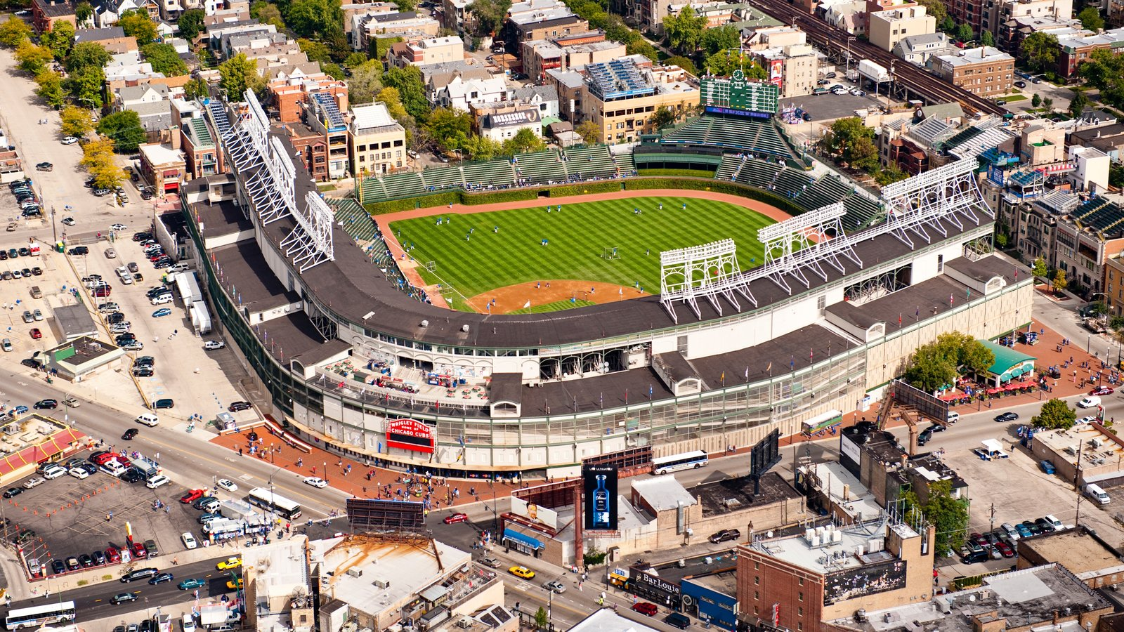 Wrigley Field featuring cbd, a sporting event and a city