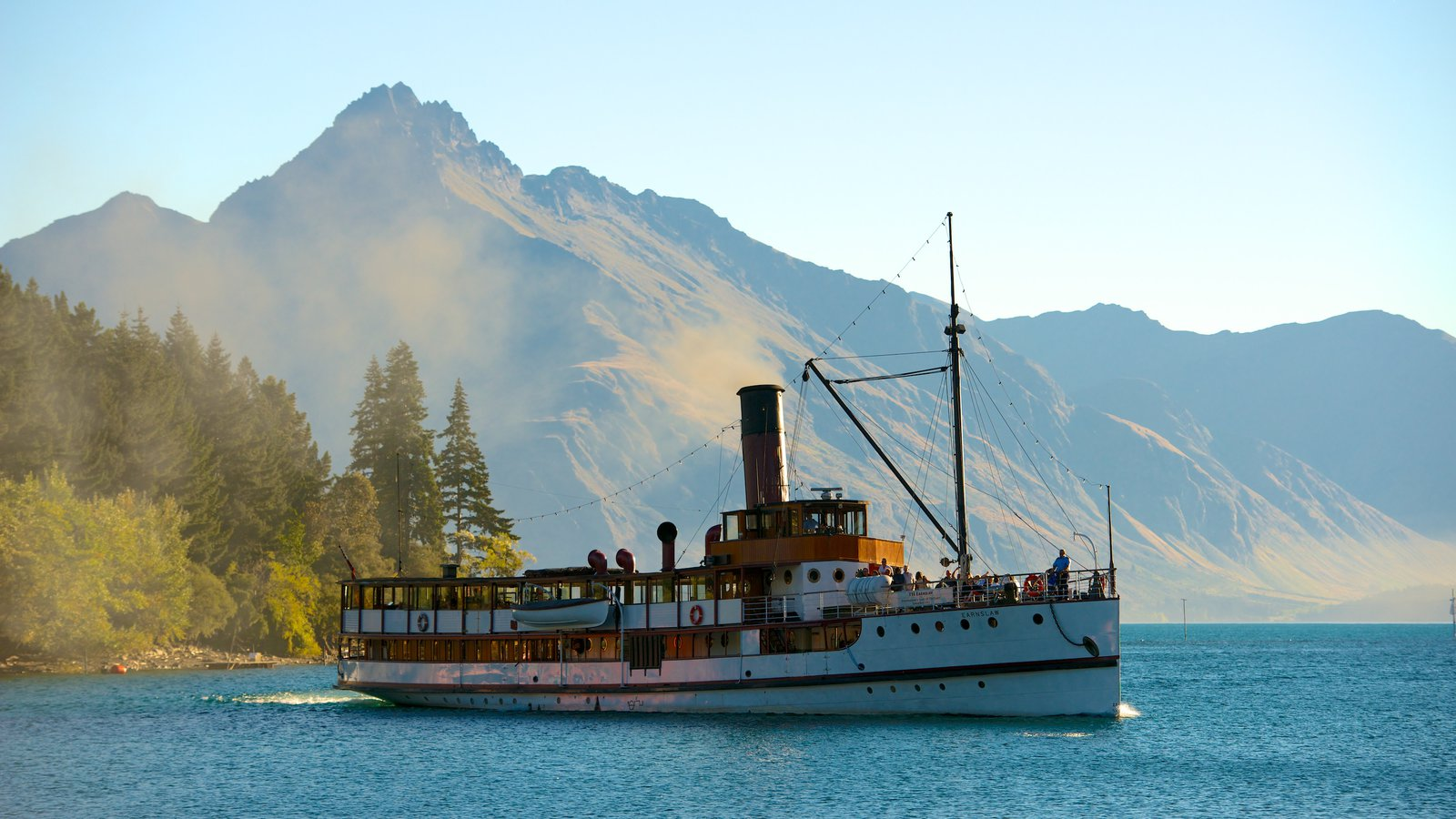 TSS Earnslaw Steamship featuring a ferry, mountains and general coastal views