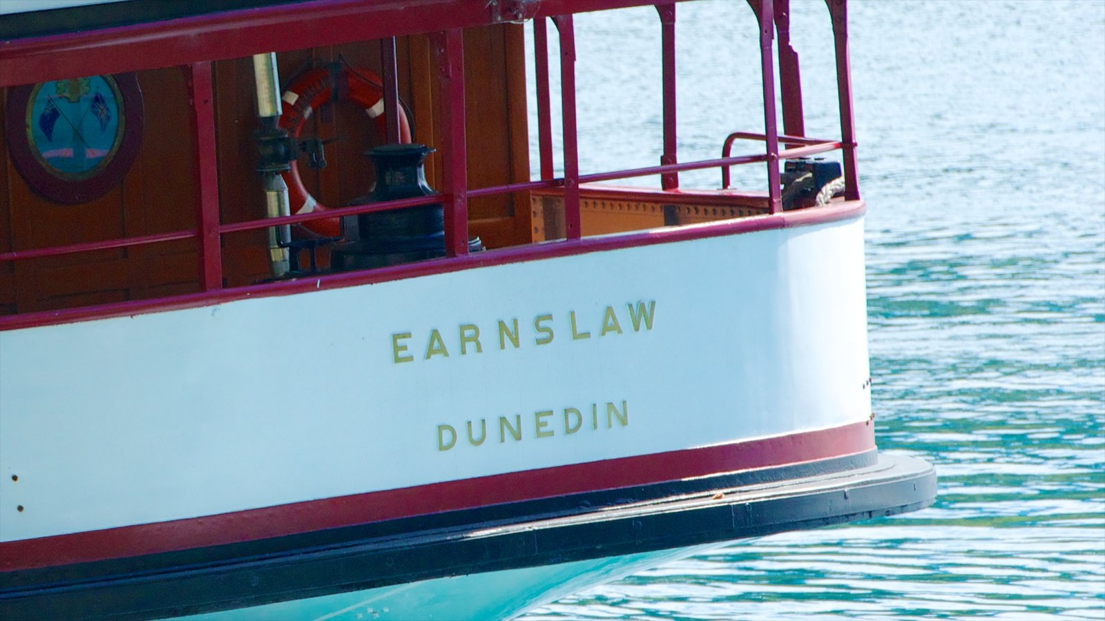 TSS Earnslaw Steamship which includes signage and a ferry