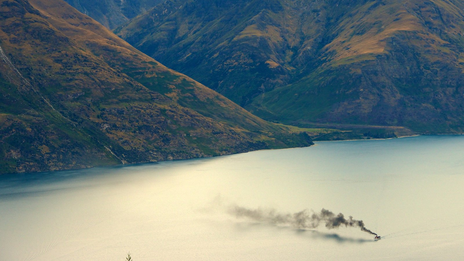 TSS Earnslaw Steamship featuring boating, landscape views and general coastal views