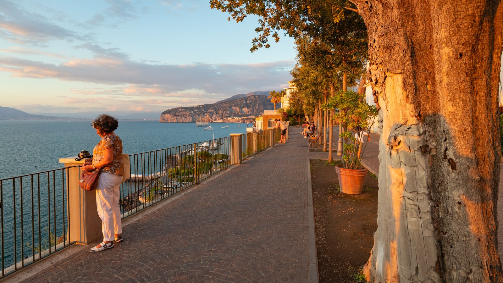 Villa Comunale Park which includes a sunset, views and general coastal views