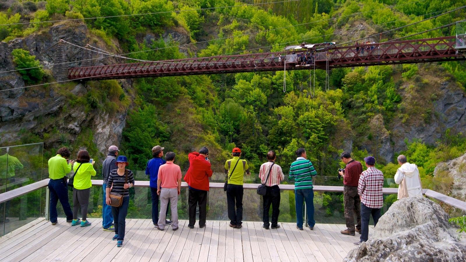 Kawarau Suspension Bridge showing a bridge, hiking or walking and views