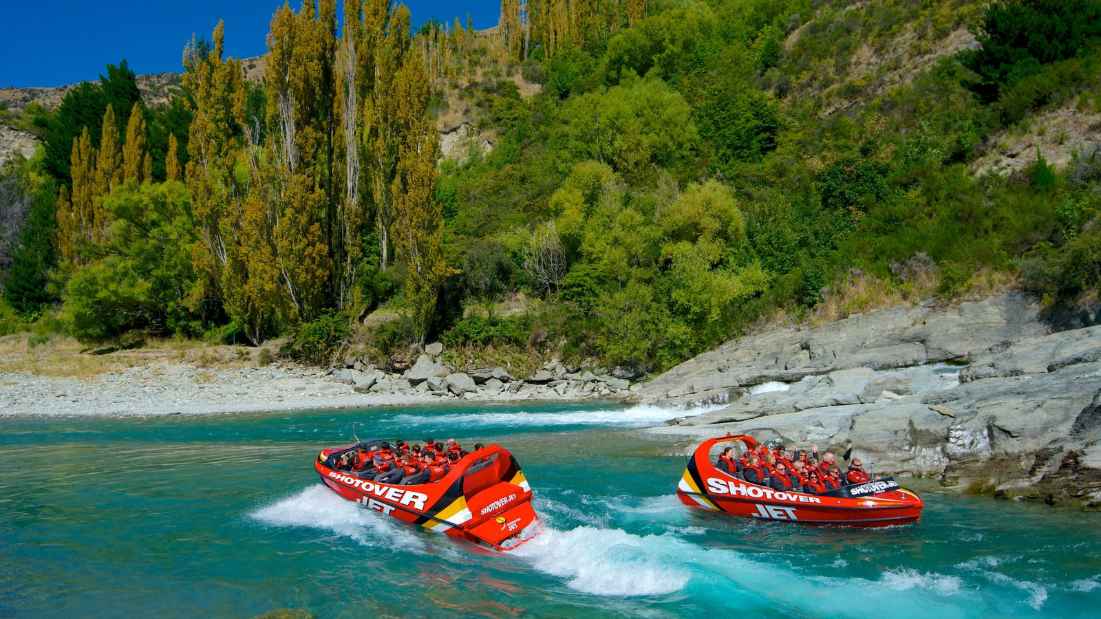 Queenstown which includes forest scenes, rugged coastline and boating