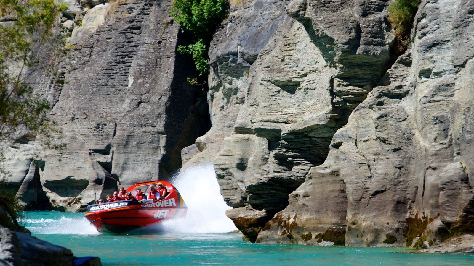 Queenstown featuring a river or creek, a gorge or canyon and boating