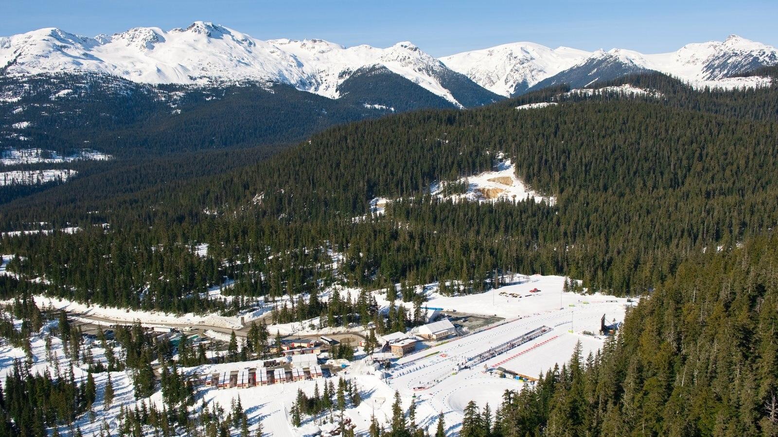 Whistler Olympic Park ofreciendo nieve, vistas de paisajes y montañas