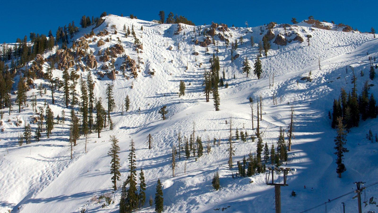 Squaw Valley Resort mostrando nieve, montañas y vistas de paisajes