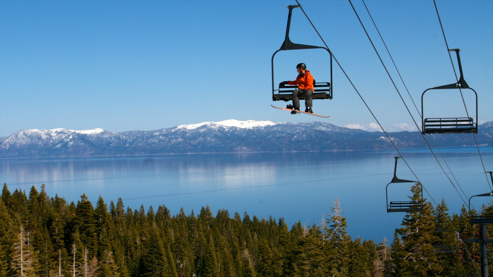 Homewood Mountain Resort mostrando esquiar en la nieve, una góndola y un lago o abrevadero