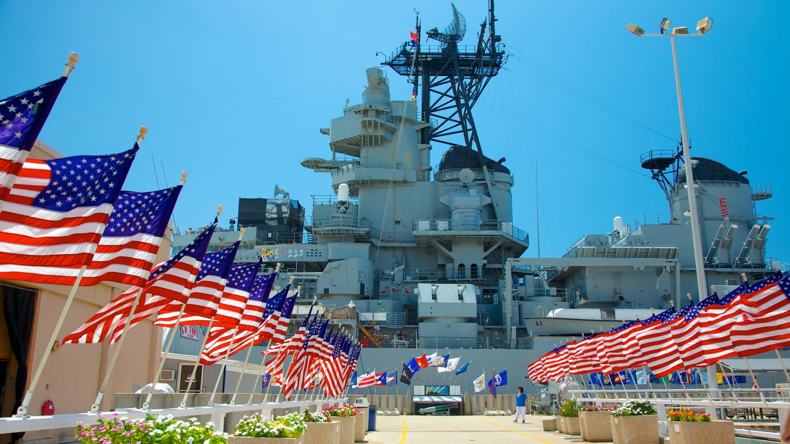 USS Missouri Memorial featuring military items