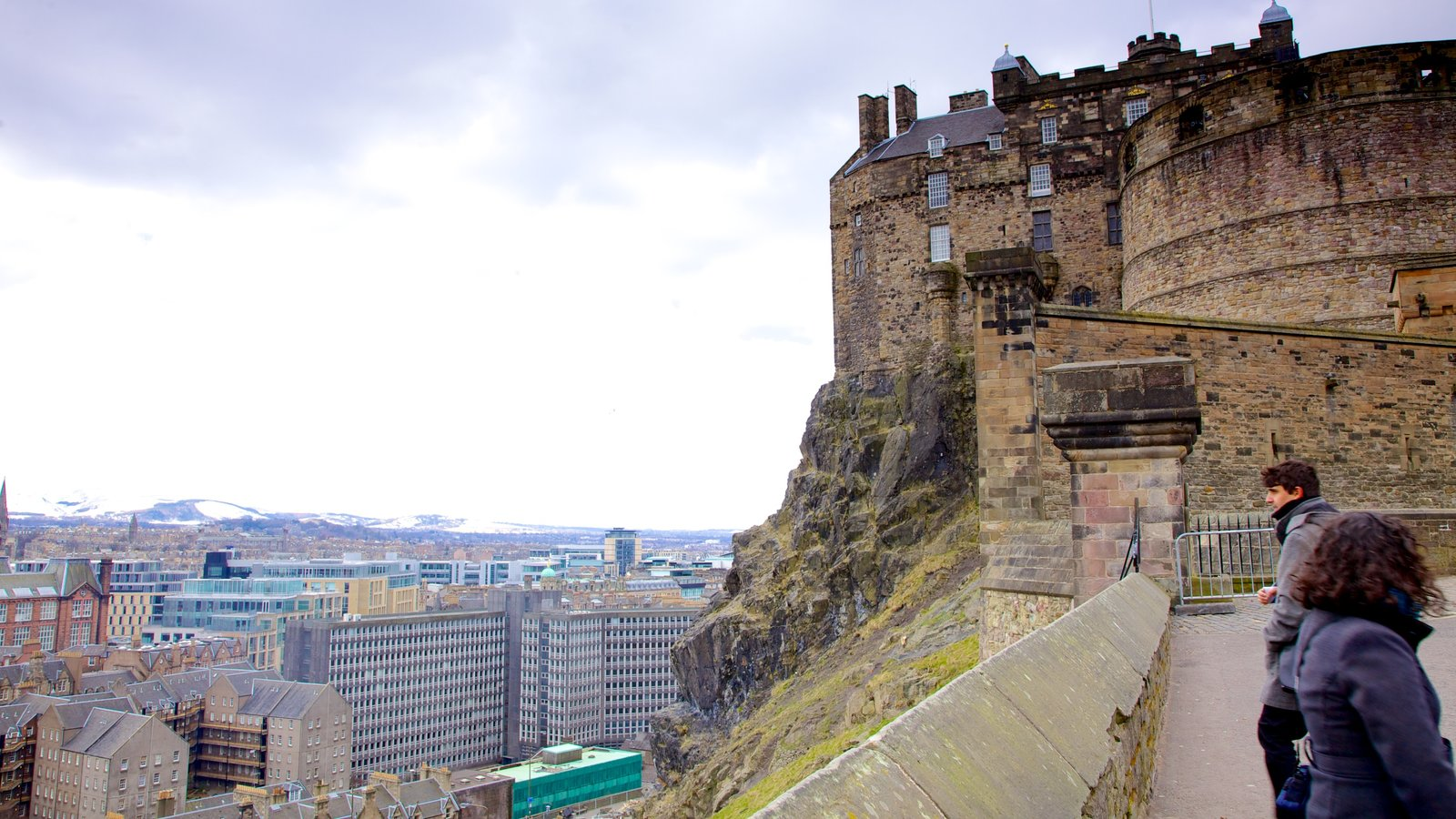Edinburgh Castle which includes a city, heritage architecture and views