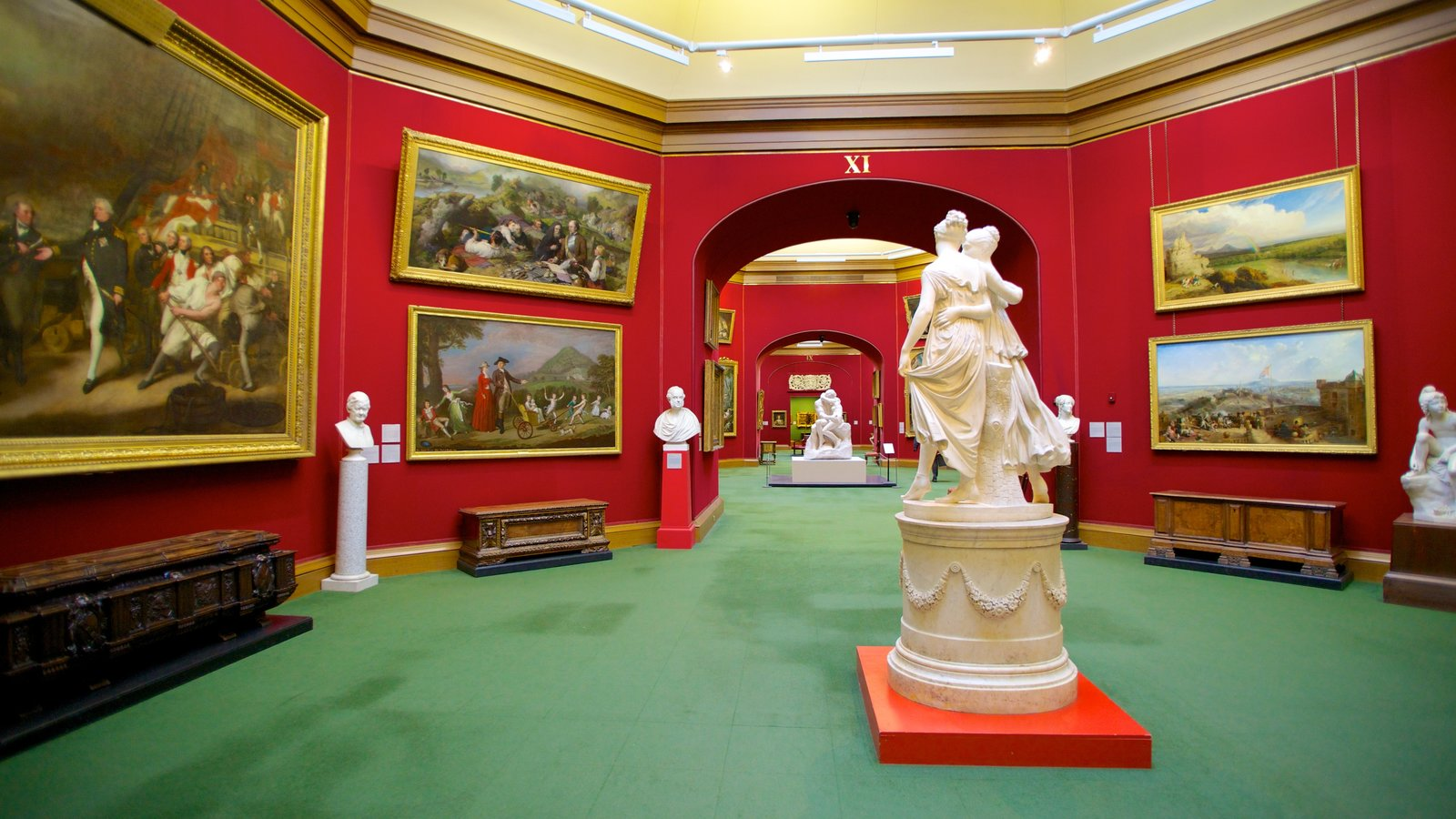 Scottish National Gallery showing interior views and a statue or sculpture