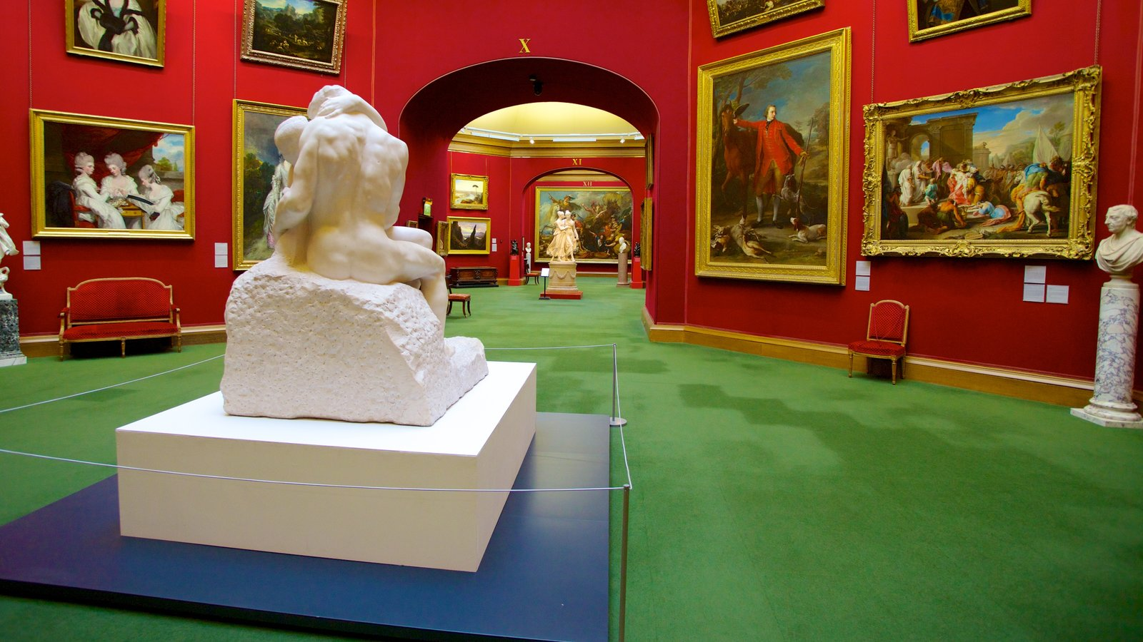 National Gallery of Scotland which includes interior views, art and a statue or sculpture