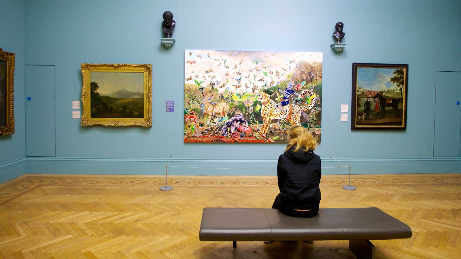 Manchester Art Gallery showing interior views and art as well as an individual femail