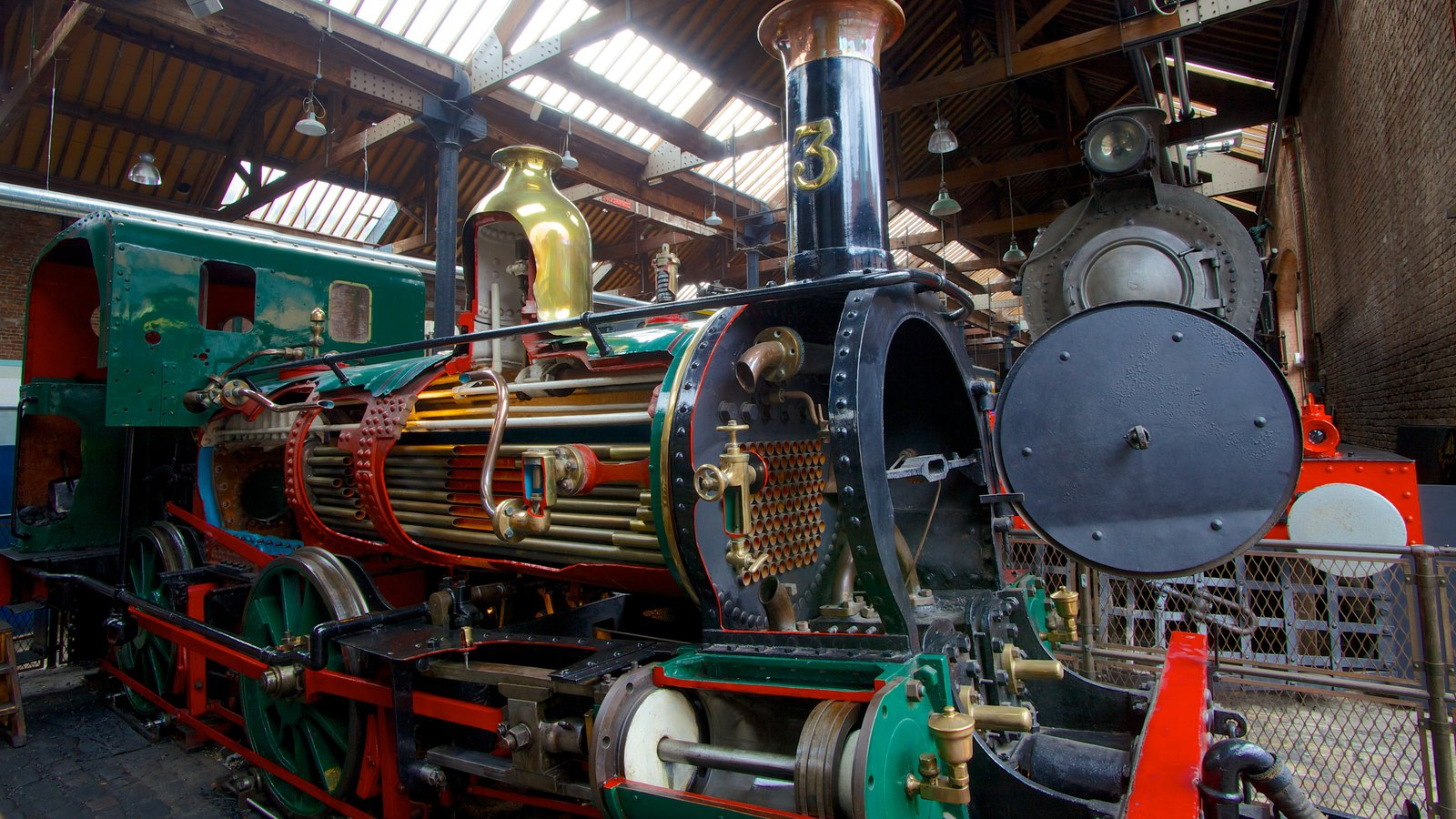 Museum of Science and Industry featuring railway items and interior views