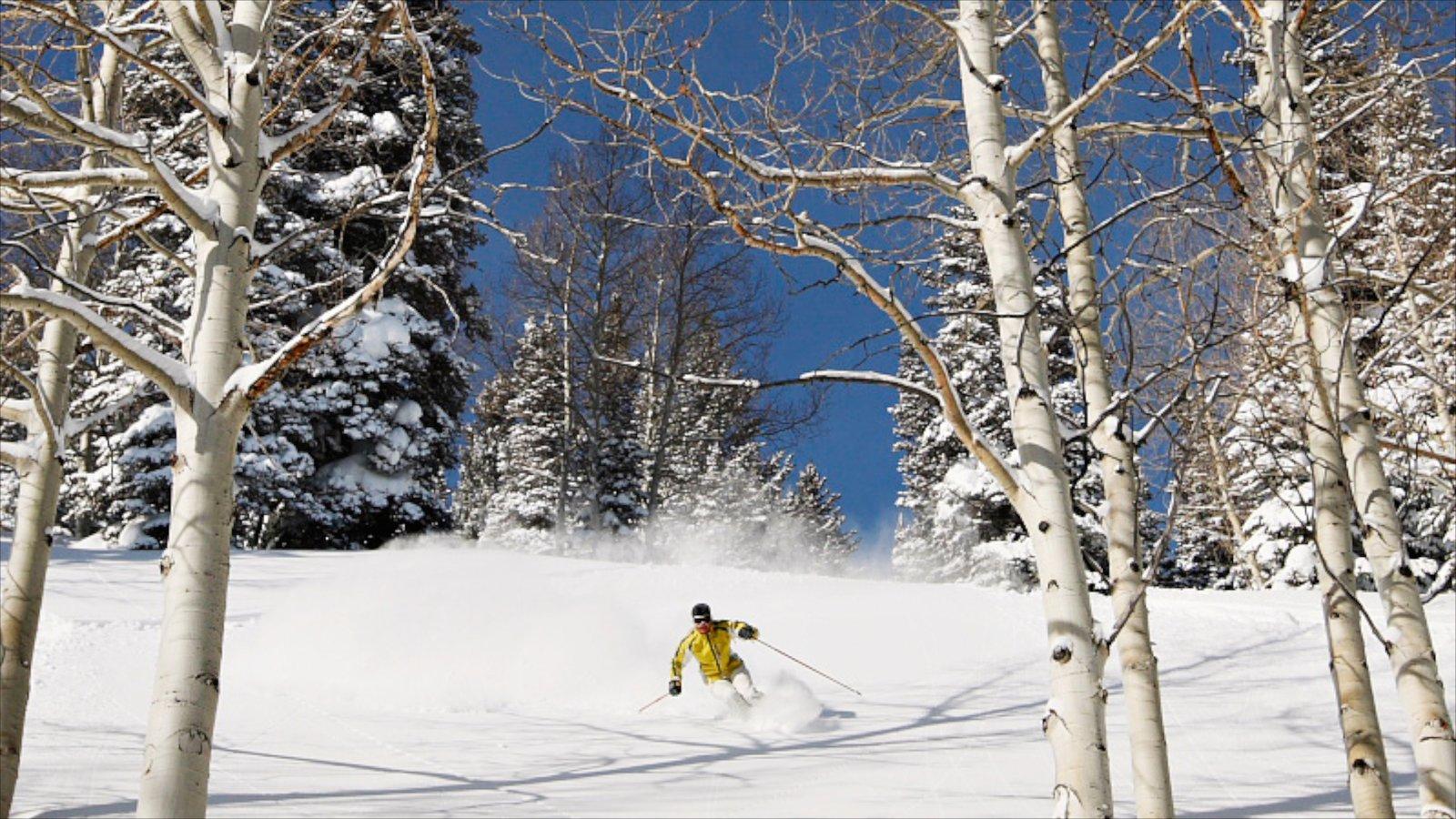 Park City Mountain Resort caracterizando neve, esqui na neve e montanhas