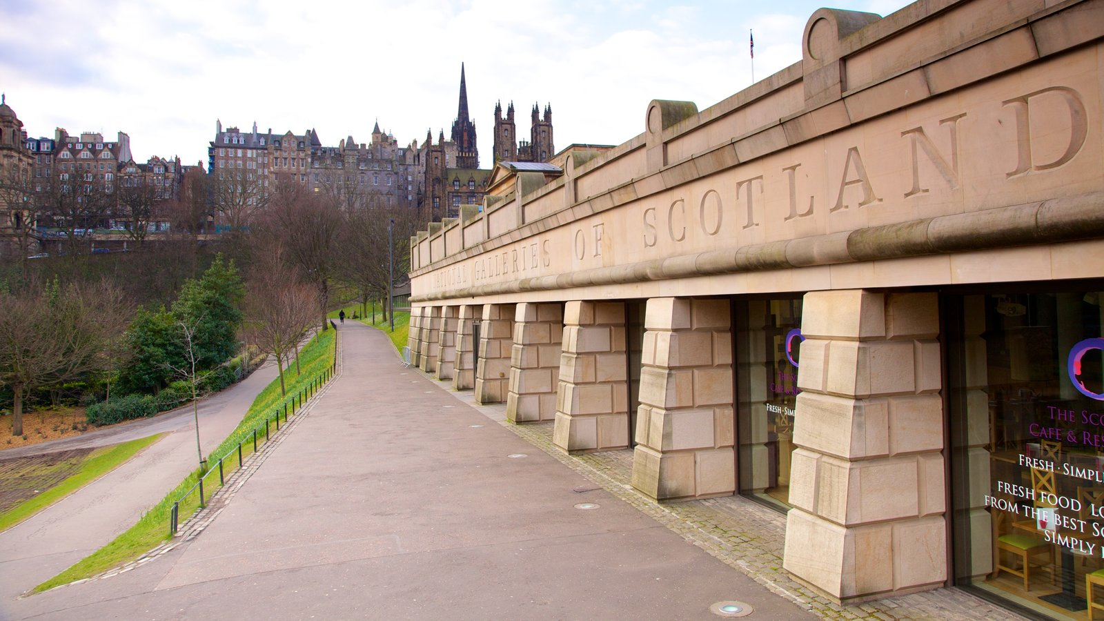 Scottish National Gallery featuring a city and signage