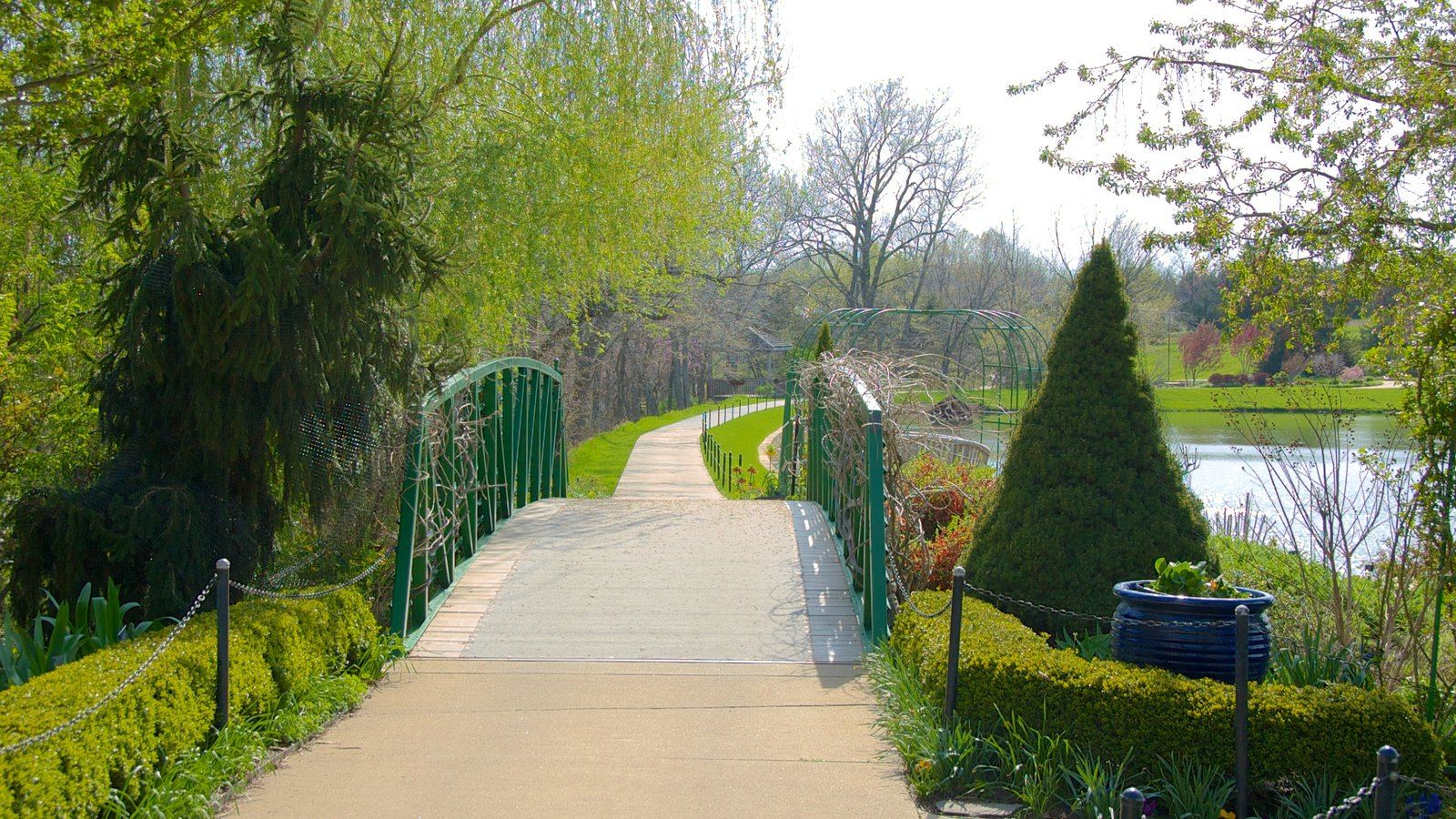 Overland Park Arboretum And Botanical Gardens Showing A Garden, Landscape  Views And A Bridge