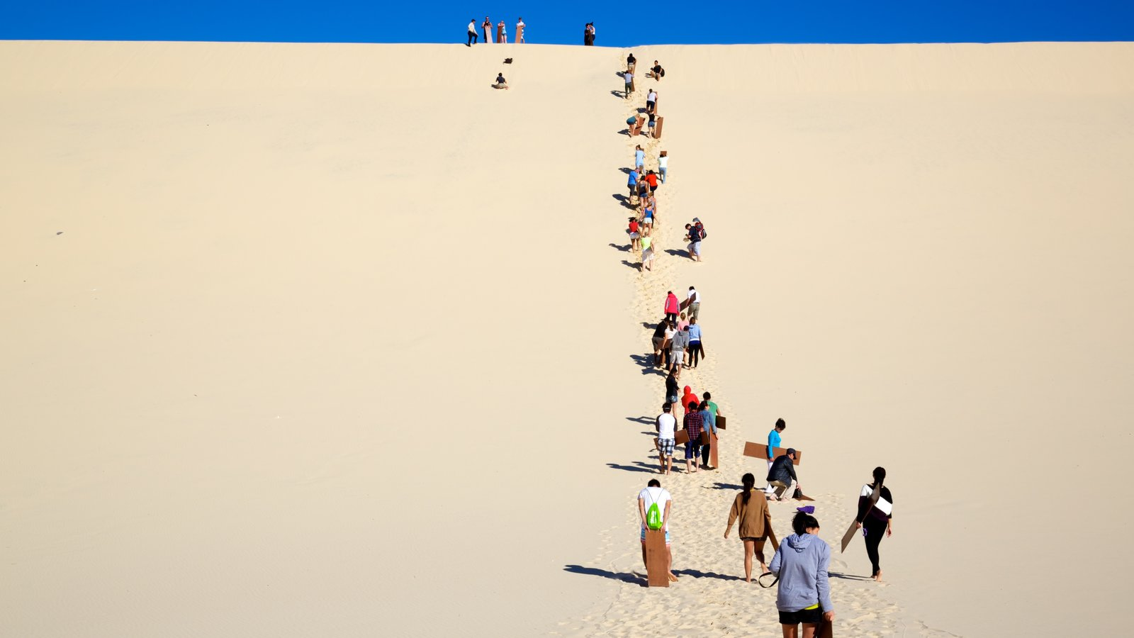 Moreton Island National Park which includes desert views as well as a large group of people